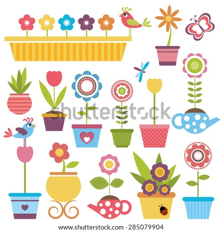 Cute spring colorful flowers in pots - stock vector