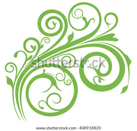 Cute Spring floral in green color - stock vector