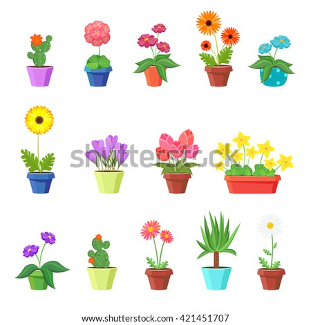 Cute spring flowers in pots. Pot, plant, nature blossom, chamomile tulip sunflower. Vector illustration