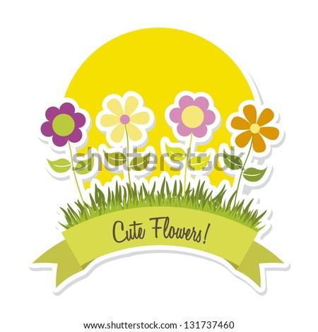 cute spring flowers over white background. vector illustration - stock vector
