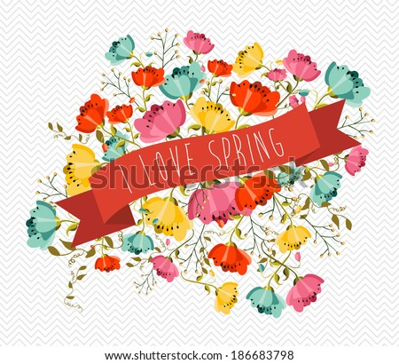 Cute Spring greeting card with colorful flowers and red ribbon composition. EPS10 vector file organized in layers for easy editing. - stock vector