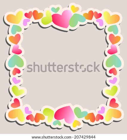 Cute square frame of colored hearts