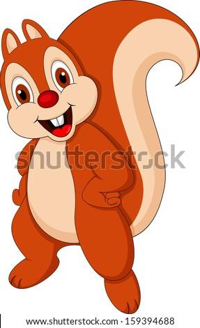 cute squirrel action - stock vector