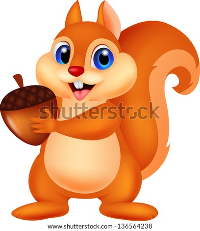 Cute squirrel holding nut - stock vector