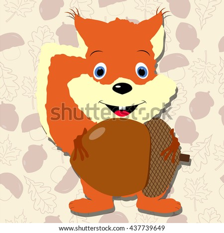 Cute Squirrel Holds Acorn Template Design Stock Vector HD (Royalty ...