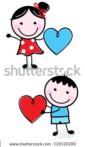 Cute stick figure Kids holding Valentine's Day hearts - stock vector