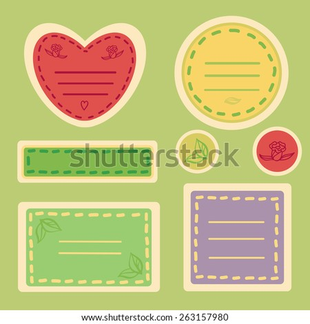 Cute Sticker Set in Spring Colors - stock vector