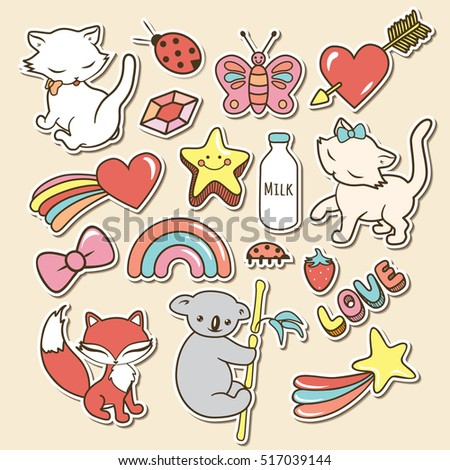 Cute stickers collections isolated with white strokes and shadows on beige background. Trendy fashion chic patches, pins, badges design set in cartoon lovely comic style. Vector illustration.