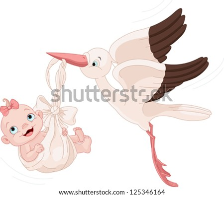 Cute stork carrying a baby girl - stock vector