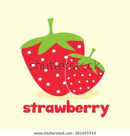 cute strawberry card - stock vector