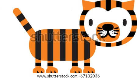 Cute Striped Tiger. Silhouette Vector illustration in whimsical children's art style - stock vector