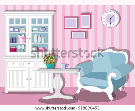 Cute Stylish Living Room Decor Light Stock Vector (2018) 518890453 ...