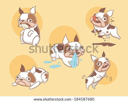 Cute stylized and playful cartoon dogs - stock vector