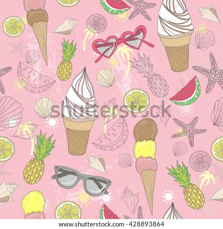Cute summer abstract pattern. Seamless pattern with ice creams, sunglasses, fruits, stars, and seashells . Fun pattern for children or teenagers.