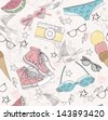 Cute summer abstract pattern. Seamless pattern with swimsuits, sunglasses, sun glasses, sneakers, and ice creams . Fun pattern for children or teenager girls. - stock vector