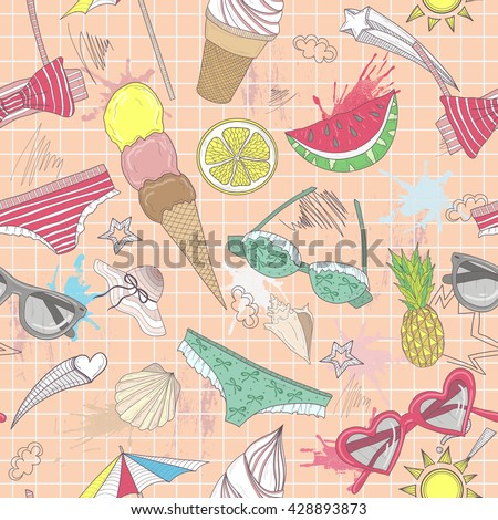 Cute summer abstract pattern. Seamless pattern with swimsuits, sunglasses, suns, ice creams, and seashells . Fun pattern for children or teenager girls.summer set