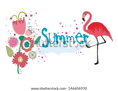 cute summer backgrounds  with flamingo and  flowers. Vector illustration. - stock vector