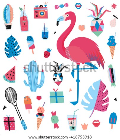 Cute Summer Design Set of Trendy Holiday Elements. Vector. Isolated. White Background. Scandinavian Concept- Hawaii, sport, palm, ice cream, pineapple, flamingo, leaf, candy, cocktail, watermelon