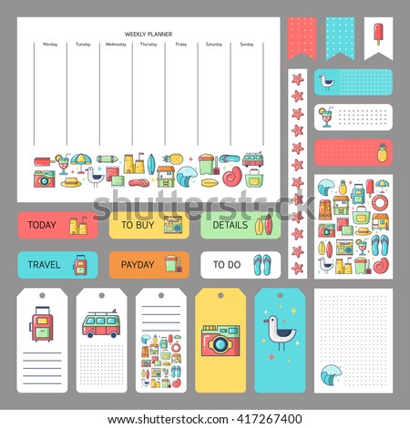 Cute summer icons and concept. Stickers, tags templates for organized planner. Template for planner, scrapbooking, wrapping, wedding invitation, notebooks, diary. - stock vector