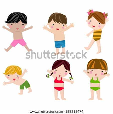 Cute Summer Kids in swimsuit set isolated on white - stock vector
