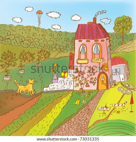 Cute summer landscape in the village cartoon