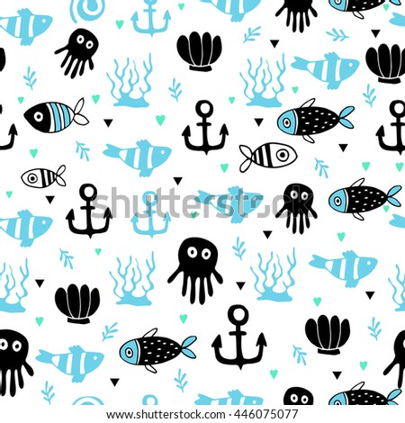 Cute summer seamless pattern with fish