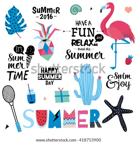 Cute Summer Set of Trendy Holiday Elements and Summer Typographic. Scandinavian Design. Vector. Isolated. White Background. Modern Concept. Hawaii, sport, palm, ice cream, pineapple, flamingo, leaf