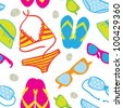 Cute summer vacations seamless background with  bikini sets, sunglasses, flip-flops and sun hats - stock vector