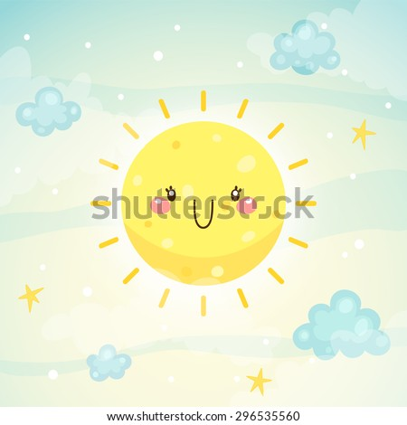 Cute Sun, children's illustration, simple stylization, vector. - stock vector