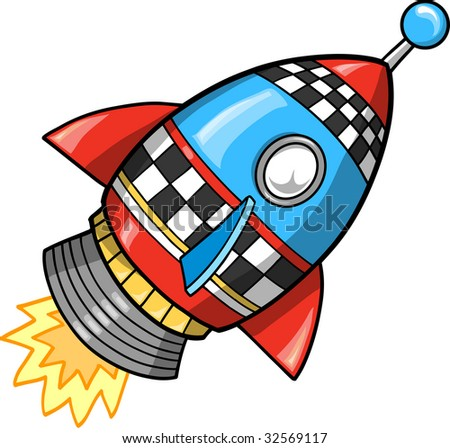 Cute Super Rocket Vector Illustration - stock vector