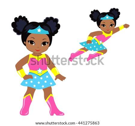 Cute superhero girl vector clip art stock vector 441275863 cute superhero girl vector clip art set voltagebd Image collections