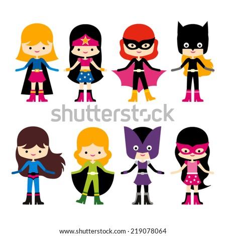 Cute superhero girl vector clip art. Set of 8 - stock vector