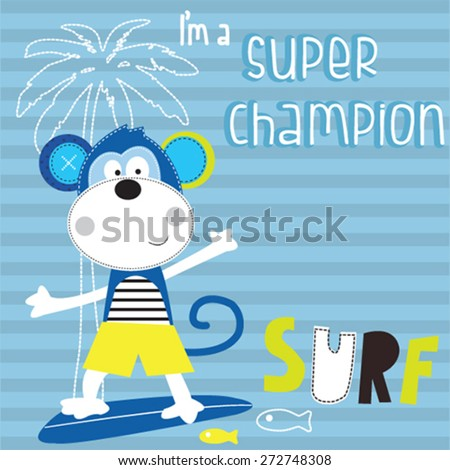 cute surfer monkey on the beach, striped background, T-shirt design vector illustration - stock vector