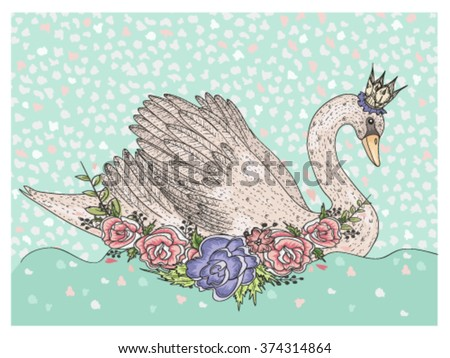 Cute swan with crown and flowers. Fairytale background for kids or children - stock vector