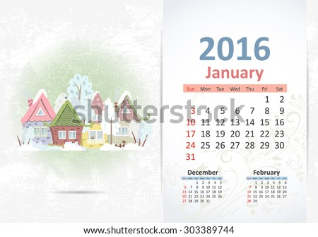 Cute sweet town. calendar for 2016, January - stock vector