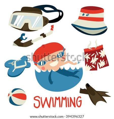 cute swimming boy set. flat asian style character and diving equipment