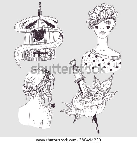 Cute tattoo set. Young girls, flower and bird cage with heart. - stock vector