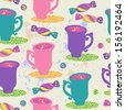 Cute tea and coffee seamless pattern with cups and candy. Wallpaper in vector. - stock photo