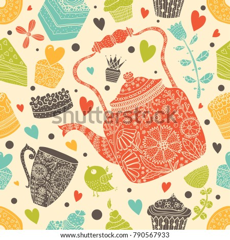 Cute tea and cupcakes. Seamless pattern.