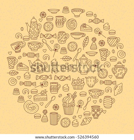 Cute tea doodles beverage drink sweets desserts vector collection