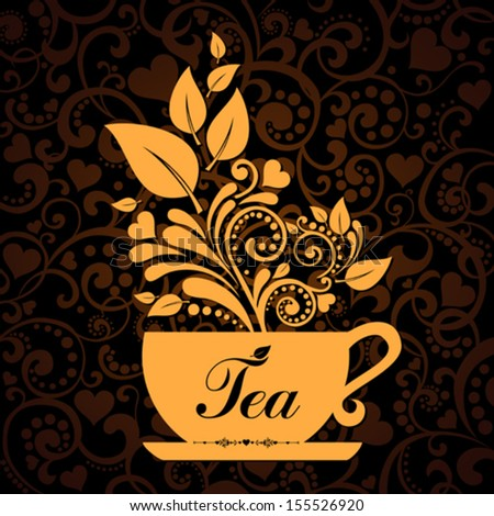 Cute tea time card. Cup with floral design elements. Menu for restaurant, cafe, bar, tea-house. vector illustration