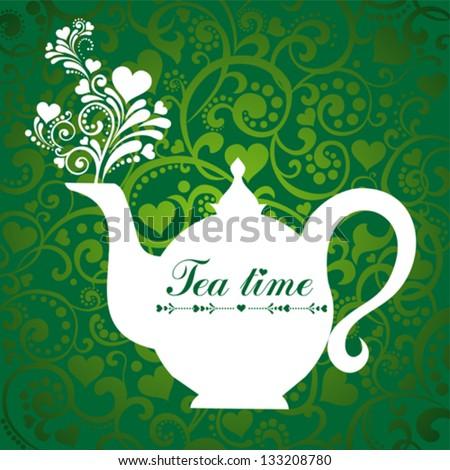 Cute tea time card. Menu for restaurant, cafe, bar, tea-house. vector illustration - stock vector