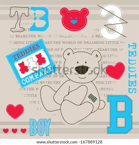 cute teddy bear baby shower invitation card vector illustration - stock vector