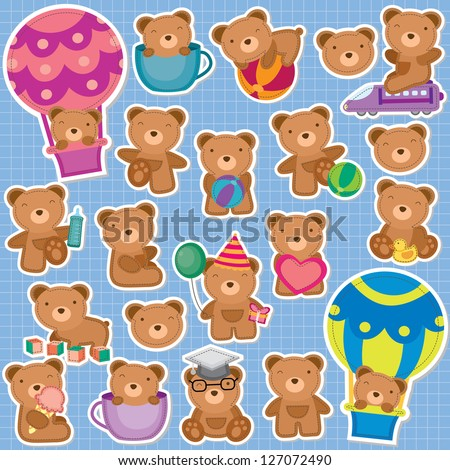 Cute Teddy Bear Clip Art - stock vector