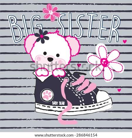 cute teddy bear girl big sister, T-shirt design vector illustration - stock vector