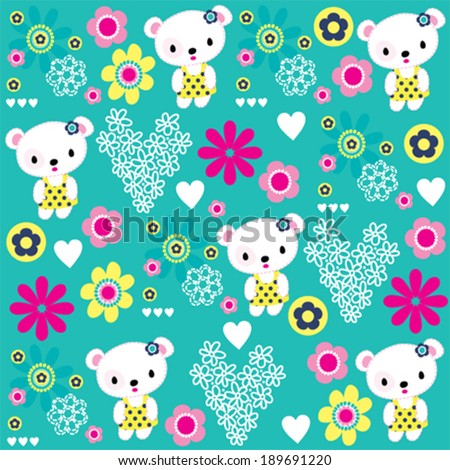 cute teddy bear girl pattern flower background vector illustration - stock vector
