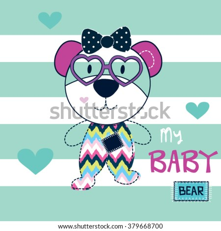 cute teddy bear girl with glasses on striped background vector illustration