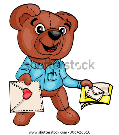 cute teddy bear in a shirt postman hands the letter to heart, love letter, e-mail - stock vector