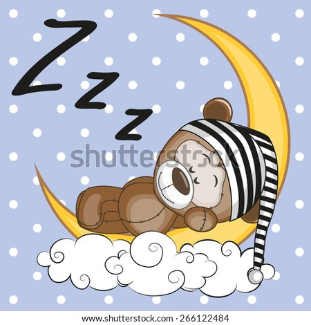 Cute Teddy Bear is sleeping on the moon  - stock vector