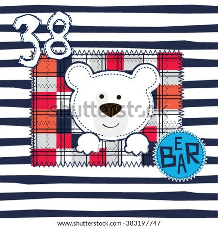 cute teddy bear on checkered and striped background vector illustration